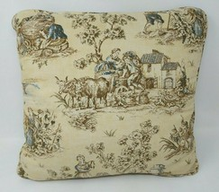 Waverly Throw Pillow Toile French Country Life Cream White Blue Square 1... - $24.74