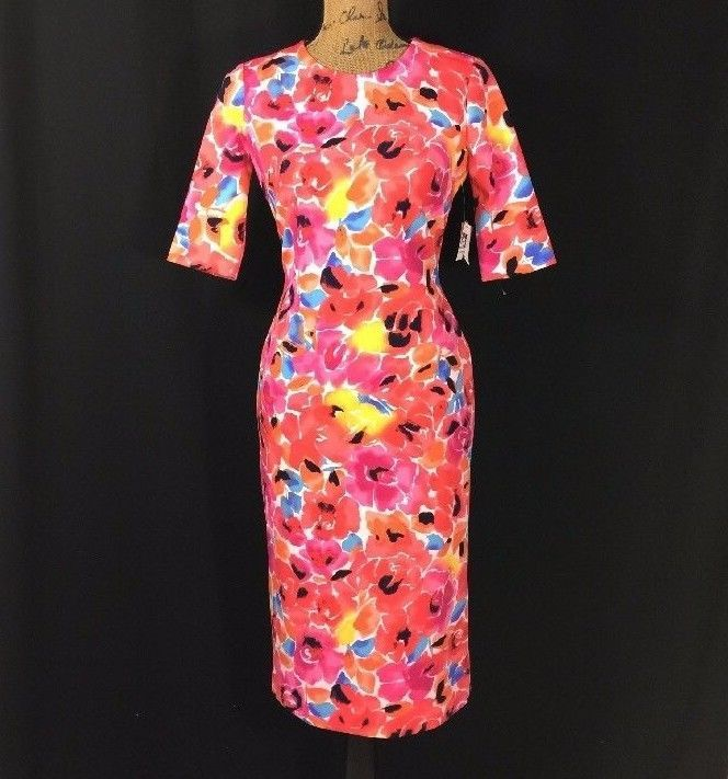 NEW Anne Klein Dress 4 Sm S Bright Floral Blossom Combo Short Sl Pencil Midi NWT