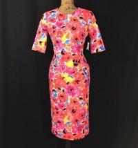 NEW Anne Klein Dress 4 Sm S Bright Floral Blossom Combo Short Sl Pencil ... - $89.95