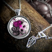 Pink Day of the Dead Sugar Skull Girl Platinum Silver Glass Pendant Neck... - $18.89