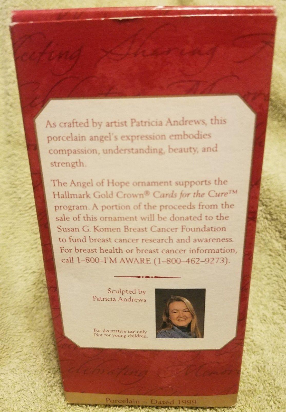 Hallmark Keepsake Christmas Ornament Angel of Hope 1999 Patricia Andrews