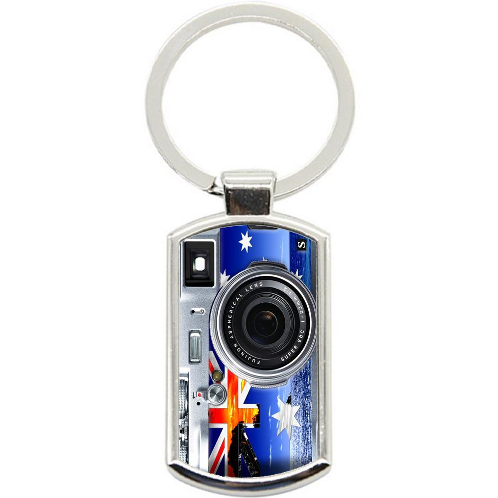 KeyRing Stainless Steel Key Chain Ring - AUS Flag Camera Y01136