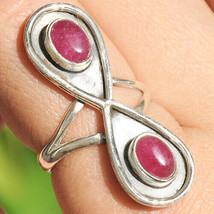Sterling Silver 925 Ruby Estate Ring Vintage Statement Ladies Size 6.5 (5.2g) - $18.89