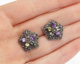 925 Sterling Silver - Vintage Amethyst Topaz & Marcasite Drop Earrings -... - $29.94
