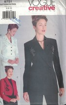 9751 Uncut Vogue Nähen Muster Misses Verbunden Gefütterte Jacke Kreativ ... - $4.83
