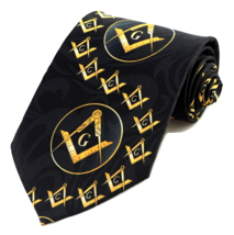 Mason Swirl Mens Masonic Necktie Freemason Square & Compass Logo Black N... - $15.95