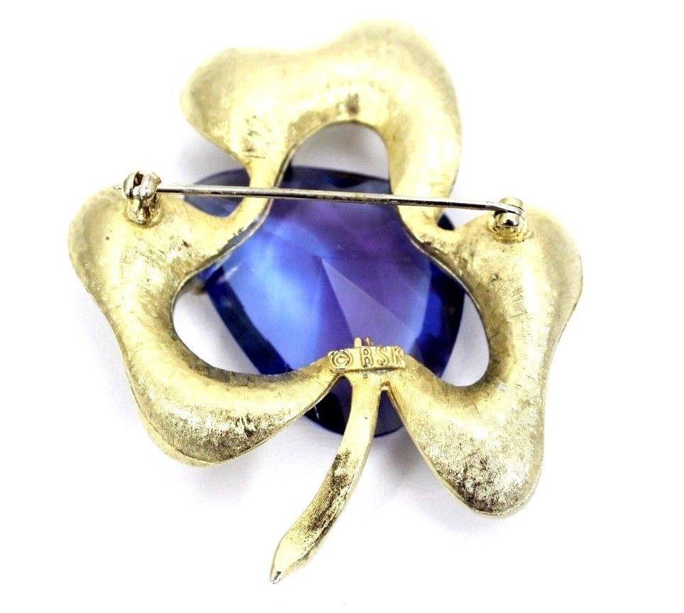 HUGE Statement VTG 50s Signed BSK Goldtone & Purple Crystal Flower Brooch & EARs