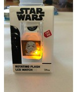 Disney Star Wars Storm Trooper Rotating Flash LCD Watch multi color blue... - $9.73