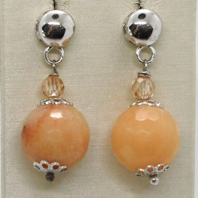 925 STERLING SILVER PENDANT EARRINGS WITH BIG FACETED BROWN JADE DIAM. 13 MM