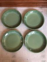 "4 Vernon Ware Green Swirl 7 1/2"" Cerametal Salad Dessert Plate Plates Set - $41.71"