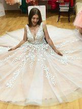 V Neck Floor Length Applique Open Back A Line Backless Bridal Gown image 4