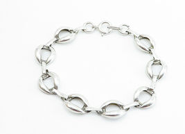 925 Sterling Silver - Vintage Shiny Smooth Open Link Chain Bracelet - B5996 image 3