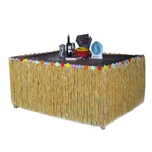 Homedeco Hawaiian Grass Table Skirt Luau Hibiscus Green String & Colorfu... - $27.45