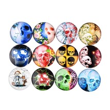 """Pkg of 10 SKULLS 1"""" (25mm) Stick-on Cabochon Round Dome Craft Pieces (2667) - $5.93"""