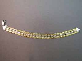 """Sterling Silver Bracelet Mark 925 Italy Chain Link 7.5"""" 16.4g Gold Accen... - $29.69"""