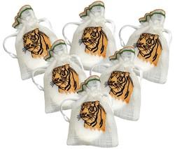 6 Tiger Embroidered White Organza Semi Sheer Drawstring Wedding Favour G... - $19.99
