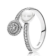 925 Sterling Silver Luminous Glow,Clear Cz & White Pearl Ring QJCB1251 - $24.88