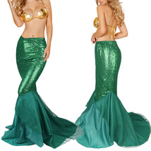 Mermaid Dress Fish Scale Skirt Stretchy Bodycon Ariel Cosplay Costume - $36.89