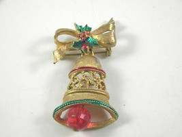 Gerry's Signed Christmas Pin with Enamel and moveable ringer on gold ton... - $15.29