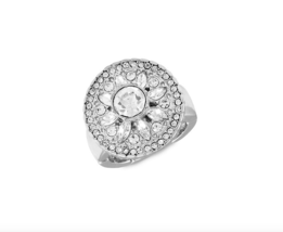 GUESS Silvertone & Crystal Ring - One Size - Silver Color - $22.77