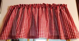 "Farmhouse Red Gingham on White Country Woman Style Curtain Valance 43""W ... - $9.89"