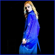 "Blue Shiny ""Wet Look"" Faux Latex Leather Zip Up Long Trench Rain Coat Jacket  image 2"
