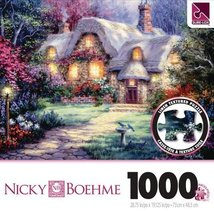 "Sure-Lox Nicky Boehme Garden Cottage 1000pc Linen Textured Puzzle 28.75""... - $24.98"