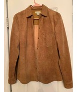 Vintage 90s Ann Taylor camel color genuine leather shirt, button down - $24.75