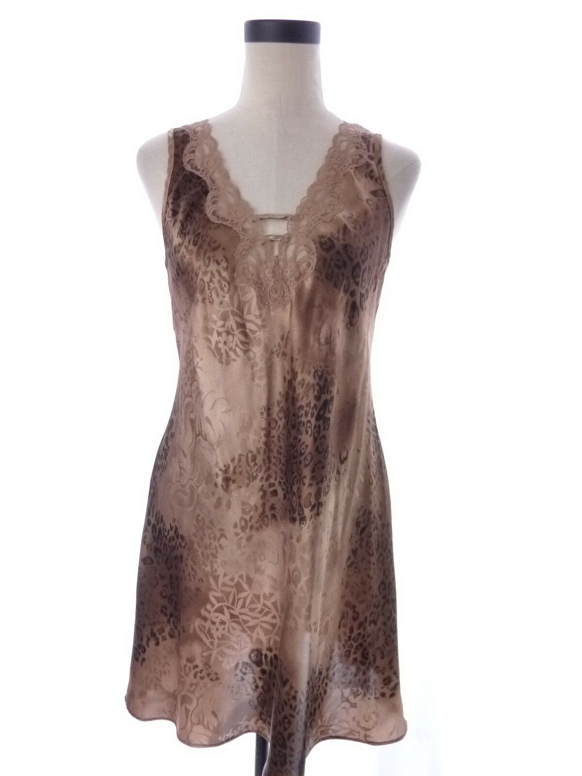 Vintage Brown Satin Animal Print Chemise Pajama Dress Expressions Size Medium