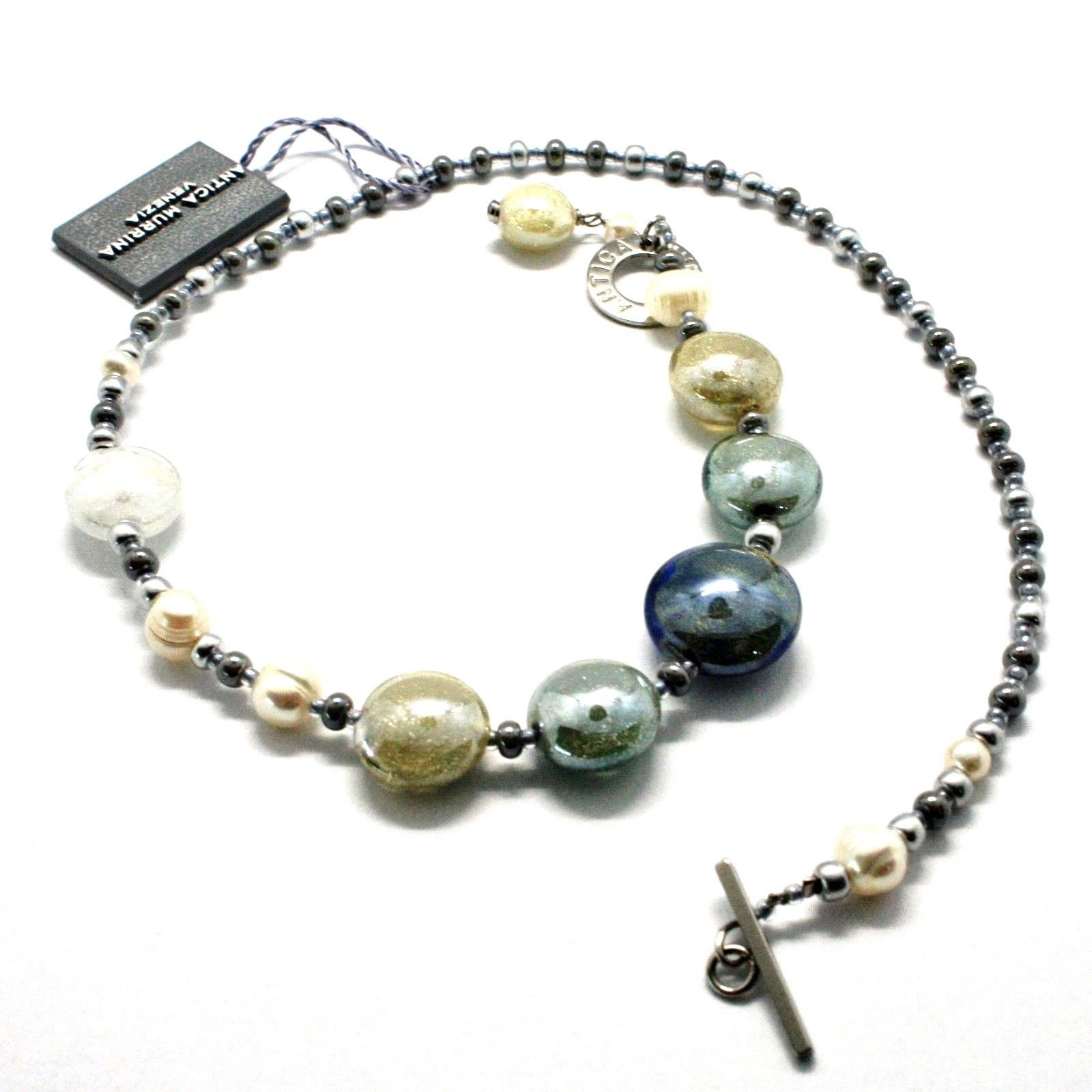 NECKLACE ANTIQUE MURRINA VENICE WITH MURANO GLASS BEIGE SAND GRAY COB14A06