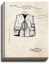 Hunting And Fishing Vest Patent Print Old Look on Canvas - $39.95+