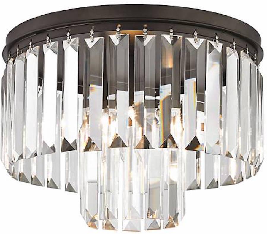 restoration hardware replica crystal fringe odeon chandelier flush mount new