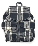 Under One Sky Black & White Plaid Cloth Backpack Adjustable Shoulder Straps - $33.85