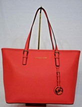 NWT! Michael Kors Jet Set Travel Top Zip Tote. Watermelon Pink Saffiano Leather - $229.00