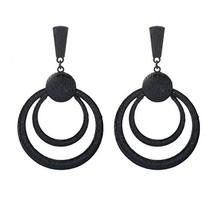 Women Fashion Alloy Wood Grain Earrings Hollow Double Circles Hoop Earrings - $12.77