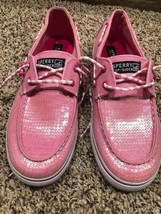Sperry Top-Sider pink sequins sneakers, boat shoes Size 4.5 cruise, deck - $29.69
