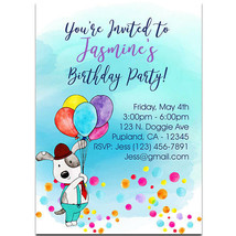 Doggie With Colors Balloons Birthday Party Invitations - $25.25