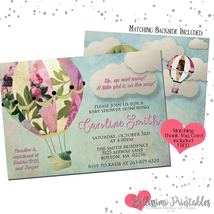 Hot Air Balloon Up Up and Away Baby Shower Invitation PRINTABLE Personal... - $12.00