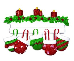 Red & Green Mitten Family of 5 Personalized Christmas Ornament - $12.80