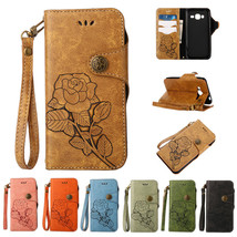 Rose Pattern PU Leather Case Wallet Stand Cover For Samsung Galaxy J3 J5... - $9.43
