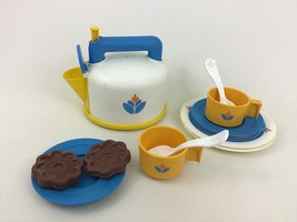 Fisher Price Fun With Food 11pc Lot Whistling Tea Kettle Cookies Plates ... - $40.05