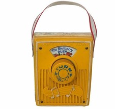 Fisher Price 1960s Pull Toy antique vtg Musical Pocket Radio Mulberry Bu... - $28.98