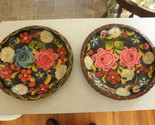 pair wooden floral plates 11 inch handpainted - £14.33 GBP