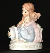 Mother and Daughter Reading together Music Box AA19-1687  Vintage (Tested)