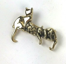 Vintage Cat Kittens Brooch Pin Gold Tone Mod Crazy Cat Lady jewelry gift - $11.87