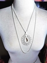 Crown Trifari White Enamel Double Chain Pendant Necklace  - $26.91