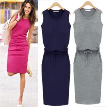 Trendy Sleeveless Cotton Bodycon Dress - $19.80