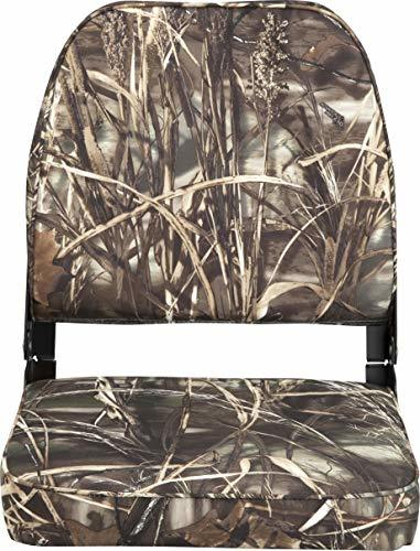 Attwood 98395CAMO Low-Back Padded Boat Seat, Camo, High-Impact Plastic Frame, 7