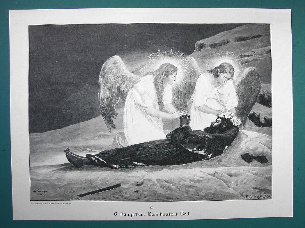 Primary image for ANGELS Death of Tannhauser - 1890s Victorian Era Print