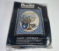 "Vintage Bucilla Needlepoint Hanukkah 60609 13x16"" Persian Crewel Yarn 100% Wool - $35.63"